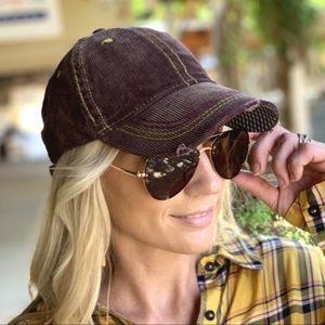 Corduroy distressed baseball cap/brown